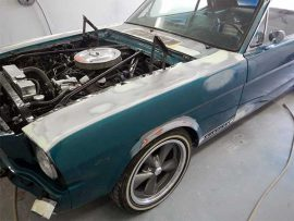 Panel repairing on this Ford Mustang