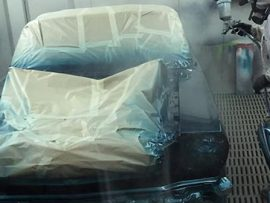 Spray booth at Sharp Autocare