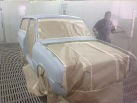 Mazda 1600 being primed ready for custom paint