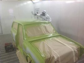 Mazda 1600 being resprayed in our spray booth