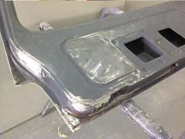 tailgate surface preped with rust removed